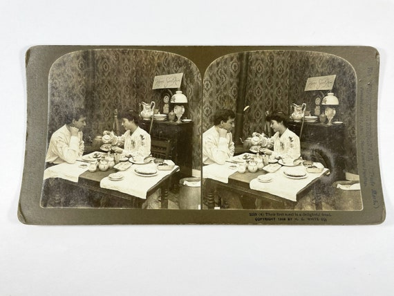 Antique H. C. White Stereoview - Their First Meal is a Delightful Feast, Copyright 1903