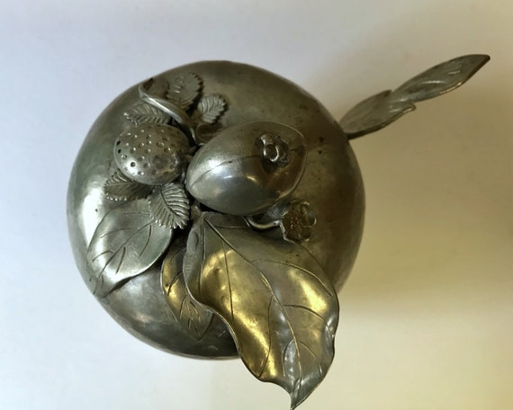 Vintage Hand Made Apple Pewter Sugar Bowl or Jam Dish with Spoon