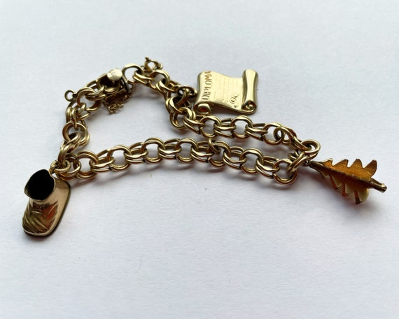 Vintage Elco 1/20 12K GF Gold Fill Charm Bracelet with 3 Charms Danecraft