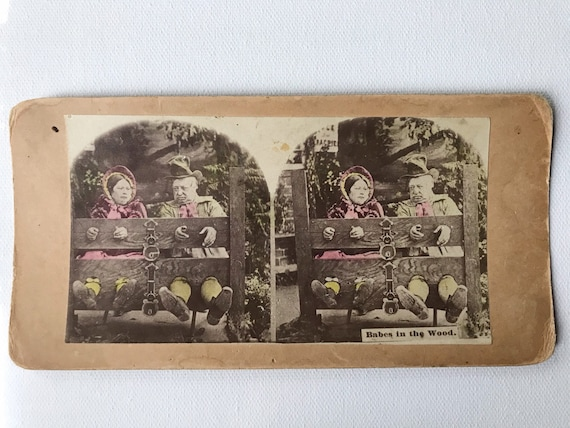 Antique Hand Tinted Stereoview Card - Older Couple in Stocks - Comical Punishment