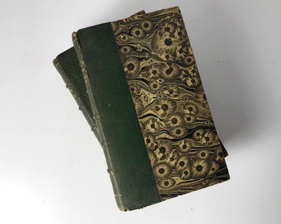 Set of Antique Books - Leather and Marbled Boards - De L'esprit Des Lois by Baron Montesquieu - pub. by Paris 1816 - 3 Small Volumes