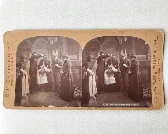 "Universal View Co. C. H. Graves Stereoview 4381 ""How Much Does Baby Weight?"""