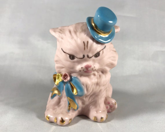 Really Angry Vintage Freeman McFarlin Pink Bisque Cat Figurine with Blue Top Hat