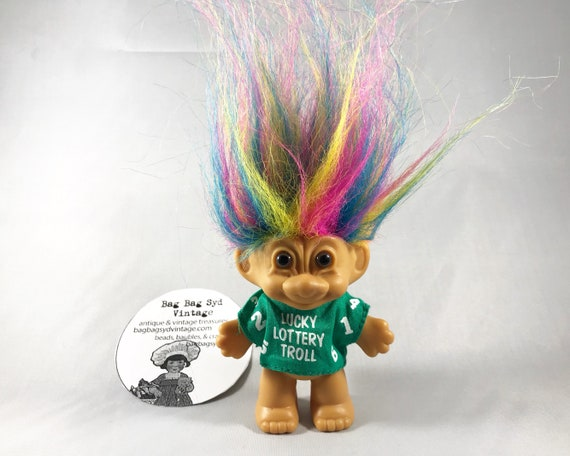Vintage Russ Troll Doll - Lucky Lottery Troll with Rainbow Hair
