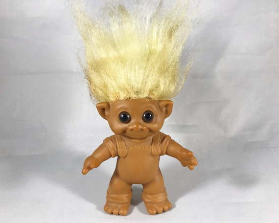 Vintage M. T. Troll Doll - White Hair with Molded Overalls