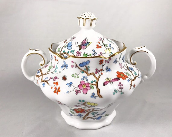 "Copeland Spode ""Shanghai"" Sugar Bowl with Blossoms and Insects"
