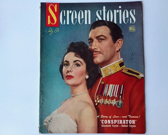 Screen Stories July 1949 - Cover Elizabeth Taylor & Robert Taylor - Vintage Movie Magazine, Inside Robert Ryan, Jane Russell and Gary Cooper