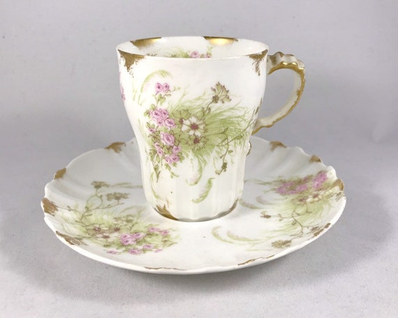 Theodore Haviland Limoges France Demitasse and Saucer - Pink Flowers - Edwardian China