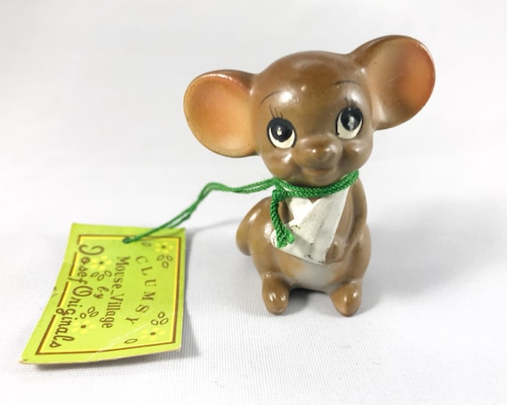 Vintage Josef Original Clumsy Mouse Figurine - Super Cute - Original Tag