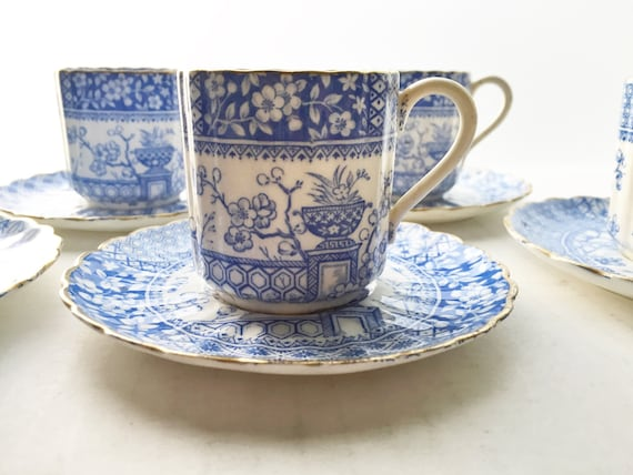 Antique Victorian William A. Adderley & Co  China Demitasse - Blue Transferware - Mikado Urn and Blossom - English Porcelain - SOLD SINGLY