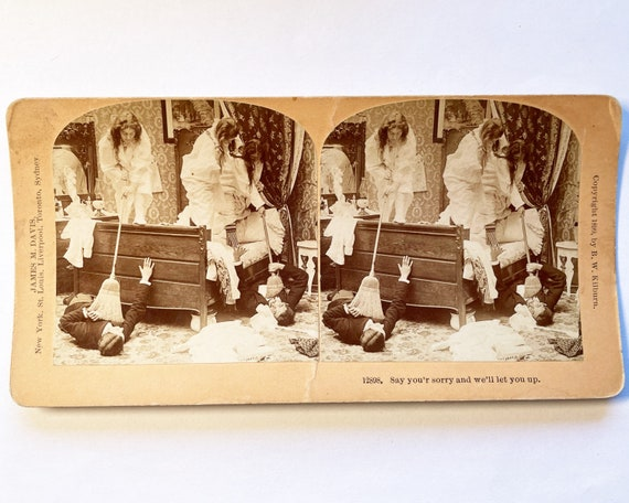 """Antique B. W. Kilburn Sepia Stereoview - 12898 """"Say You're Sorry and We'll Let You Up"""" Young Men Spy on Young Women 1899"""