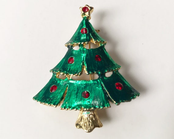 Vintage Costume Jewelry Christmas Tree Brooch