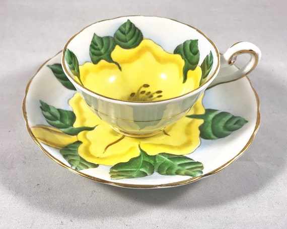 "Vintage Tuscan English Bone China ""Hawaiian Flowers"" Demitasse and Saucer - Yellow Hibiscus"