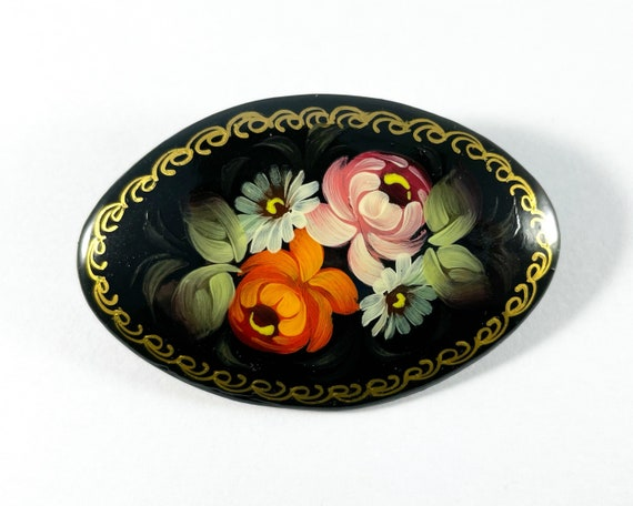 Handed Painted Russian Lacquer Floral Brooch - Traditional