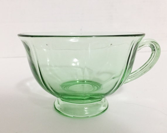 Vintage Fostoria Fairfax Green Ribbed Cup - Elegant Glass of the Depression Era - Uranium Glass
