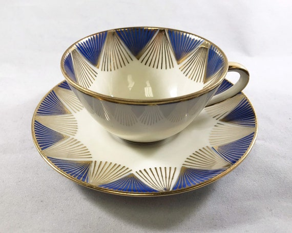 Vintage Winterling Bavaria Demitasse and Saucer in Mid Century Radiating Blue and Gold Espresso Cup