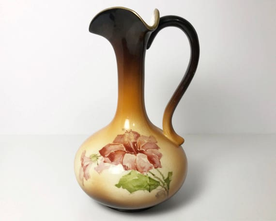 Warwick China Wheeling West Virginia - Antique Brown Long Neck Handled Pitcher Vase with Hibiscus Flower Decal - IOGA Warwick A27