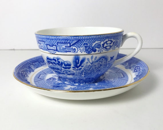 Vintage White and Blue Willow Pattern Royal Grafton Bone China Teacup and Saucer - A. B. Jones & Sons