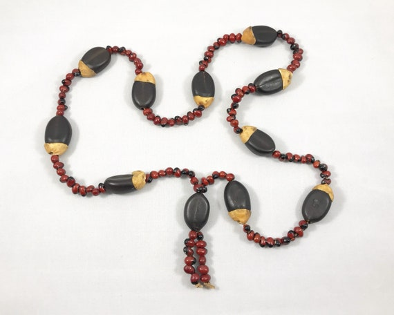 Vintage Mid Century African Nut and Seed Necklace