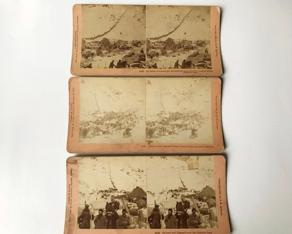 Three B. W. Kilburn Stereoviews - Klondike Gold Rush, Chilkoot Pass - James M. Davis - Copyright 1898