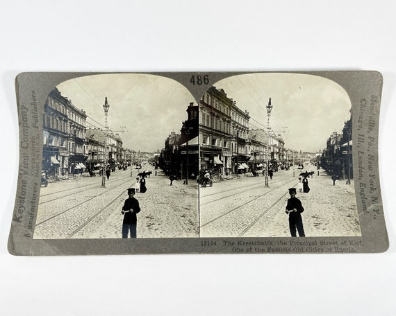 Keystone View Company Stereoview of Krestchatyk Street, Kiev (Kyiv), Ukraine