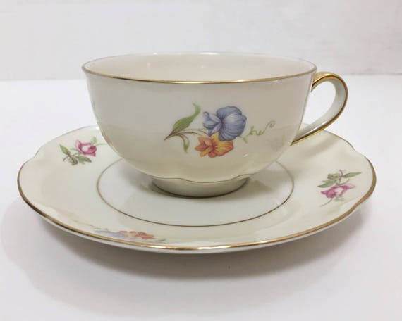 Theodore Haviland Breton Teacup & Saucer - Made in New York - Floral Pattern with Gold Trim