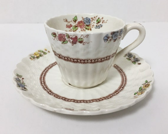 Vintage Copeland Spode Rosalie Flat Demitasse and Saucer - Off White Espresso Cup with Floral Transferware Design