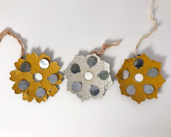 Vintage Christmas Ornament - Set of Three Cardboard Flowers with Reflectors and Glitter