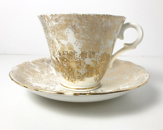 Vintage Colclough Gold Gilt and White Floral Teacup and Saucer - Delicate English Bone China - All Over Gold Chintz Pattern in Gold