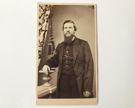 Antique Carte de Visite CDV Photograph of Victorian Man with Whiskers, Williamsburg, Brooklyn, NY