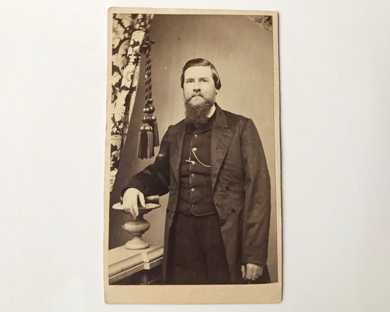 Antique Civil War Era Carte de Visite CDV Photograph of Victorian Man with Whiskers, Williamsburg, Brooklyn, NY