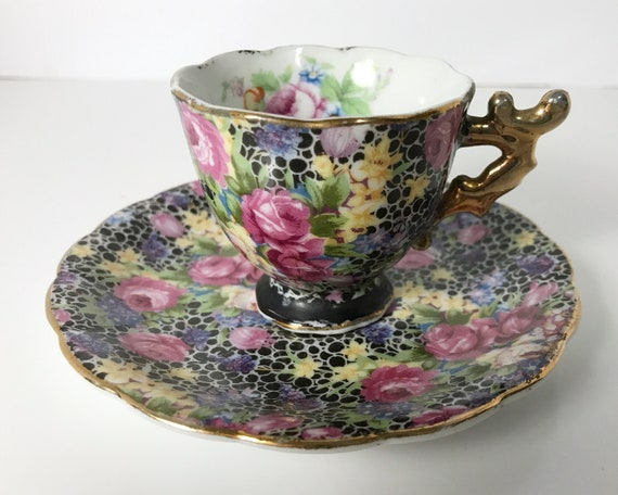 Vintage Chintz Demitasse - Made in Japan - Spectacular Floral Chintz with Roses on a Black Ground - Espresso Cup
