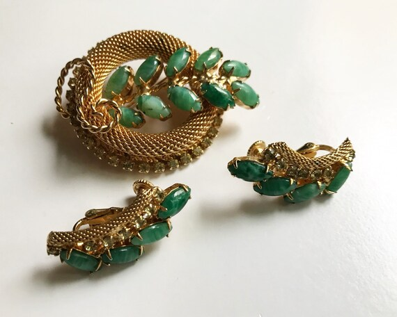 Vintage Hobé Jewelry Brooch and Earring Set - Signed Gold Tone with Green Stones and Diamante