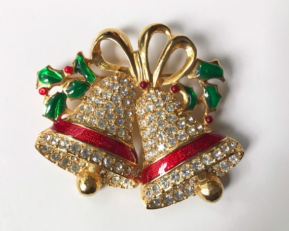 Vintage Costume Jewelry Diamante Christmas Brooch - Jingle Bells