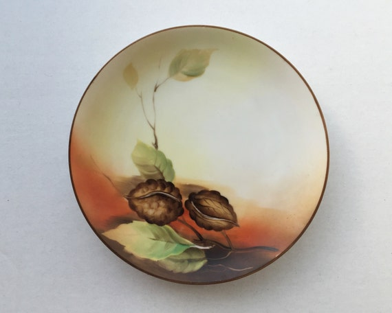 Antique Handed Painted Nippon Plate - Lovely Painted Walnut Vintage Plate - Nut Motif - Morimura Bros
