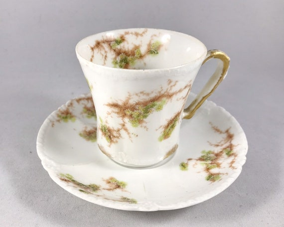 Theodore Haviland Limoges France Demitasse and Saucer - Daisies and Vines - Edwardian China