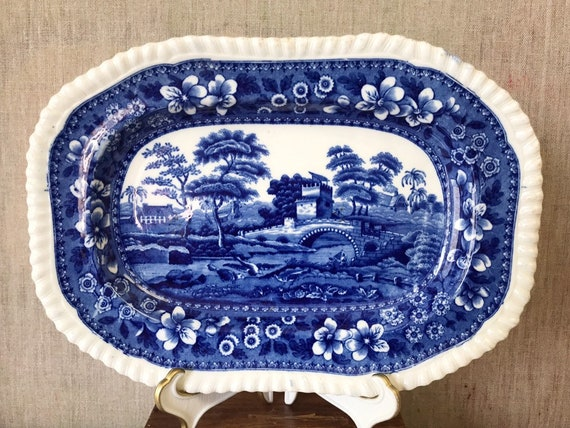 "Antique Copeland Spode's Tower Flow Blue 9 3/4 "" Rectangular Platter 1895"
