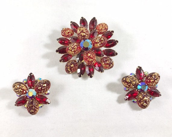 Vintage Judy Lee Signed Jewelry Brooch & Earrings - Gorgeous Mid Century Red Rhinestone Baroque