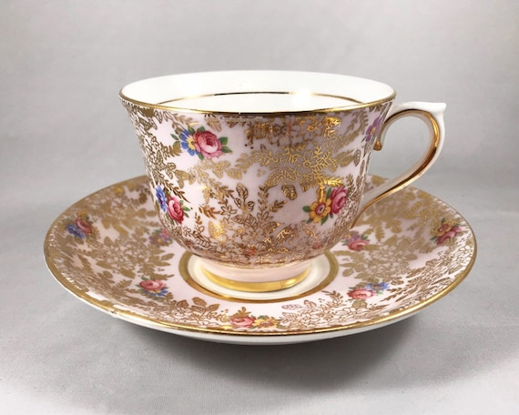 Vintage Colclough Gold Filigree Chintz on Pink with Rosebuds - English Bone China