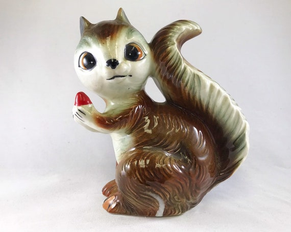 Vintage Brinnco Squirrel Figurine Holding an Acorn - Made in Japan