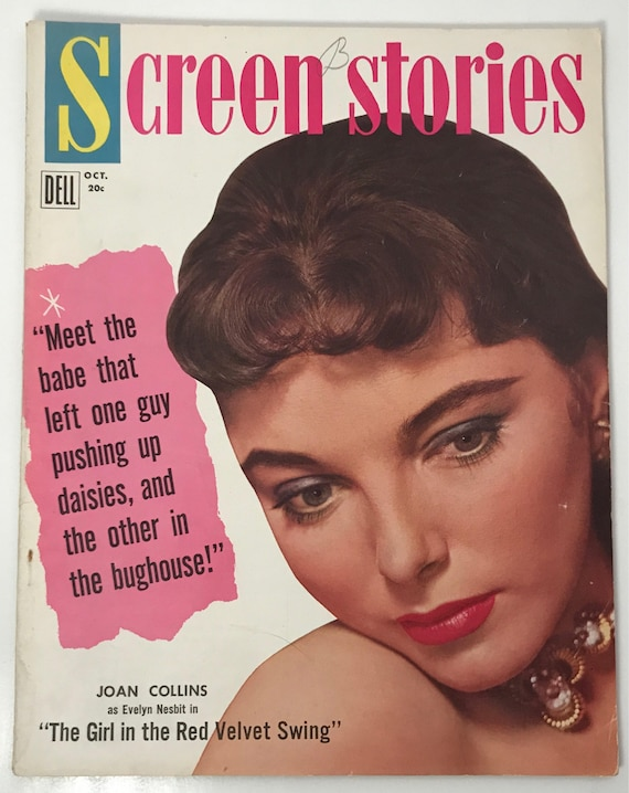 Screen Stories Magazine October 1955 - Cover Joan Collins - Vintage Movie Magazine - Inside James Dean in Rebel Without a Cause