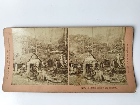 Antique B. W. Kilburn Stereoview -A Mining Camp in the Klondike - James M. Davis - Copyright 1898