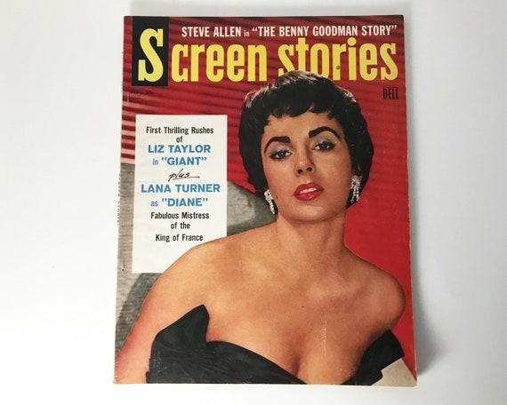 Screen Stories Magazine Feb 1956 - Cover Elizabeth Taylor - Vintage Movie Magazine - Inside Lana Turner, Tony Curtis, Kim Novak