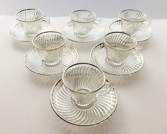 Depression Glass Diana Demitasse Coffee Cups - Federal Glass - Beautiful Swirl or Spiral Pattern Crystal Decorated with Silver Trim