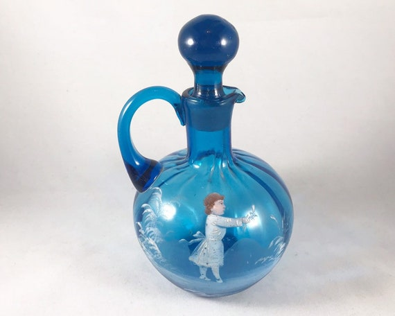 Vintage Hand Blown Turquoise Blue Glass Mary Gregory Cruet (Bohemian Glass)