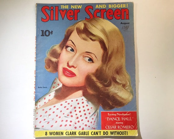 Silver Screen Magazine August1941 - Cover Dorothy Bette Davis- Vintage Movie Magazine - Inside Bob Hope, Alice Faye, Joan Crawford