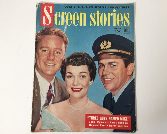 Vintage Screen Stories Magazine March 1951 - Cover Van Johnson, Jane Wyman & Howard Keel - Inside Bedtime for Bonzo with Ronald Reagan