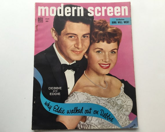Modern Screen Magazine July 1955 - Cover Eddie Fisher and Debbie Reynolds - Vintage Movie Magazine - Inside Frank Sinatra & Ava Gardner