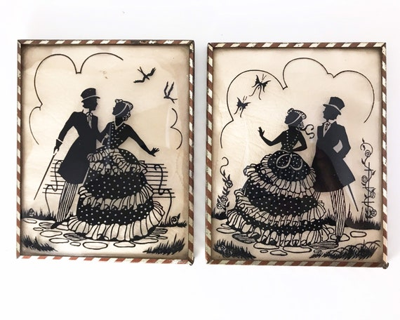 Pair of Vintage Silhouette Pictures on Glass - Convex or Bubble Glass Victorian Style Courting Couple