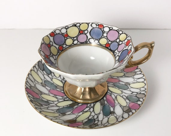 Vintage Hand Painted Lusterware Tea Cup and Saucer - Mid Century Modern